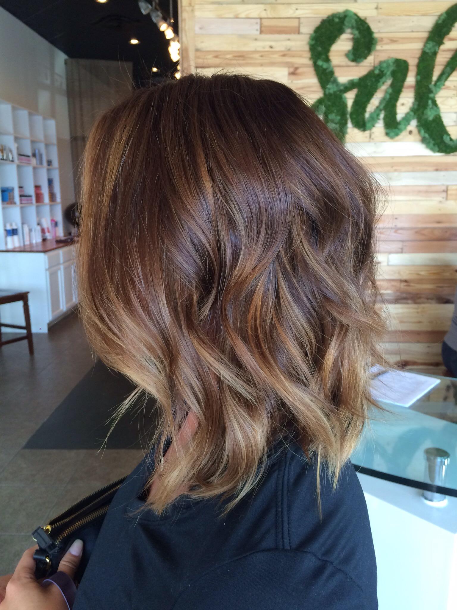 Medium to Short Hair Balayage Ombre Natural Haircolor
