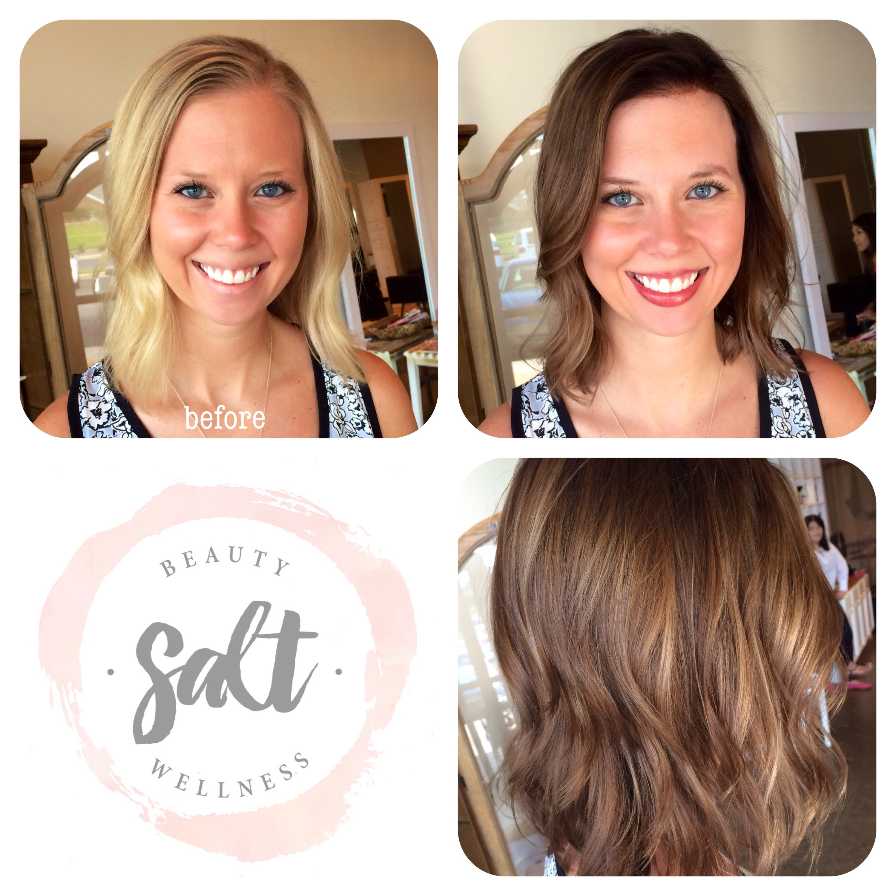 Before and After Blonde to Brunette Medium Short Hair