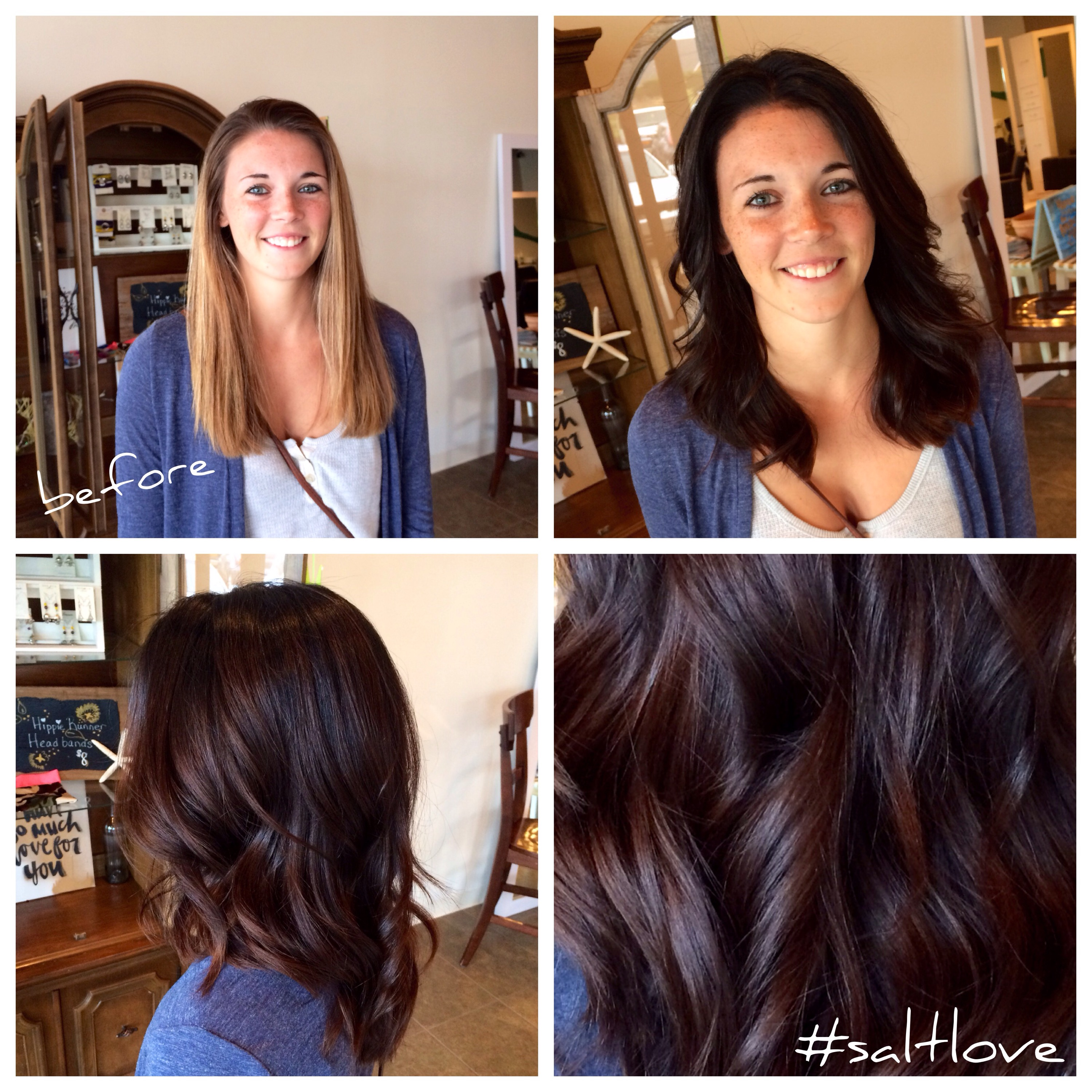Before and After Blonde to Brunette Long to Medium Hair